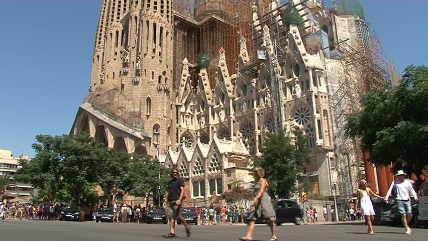 la sagrada familia stock footage video shutterstock. Black Bedroom Furniture Sets. Home Design Ideas