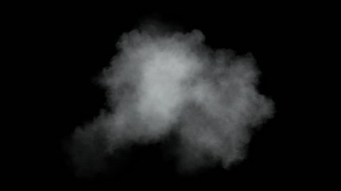 Single low density cloud developing. Detailed cloud slowly developing in space. Separated on pure black background, contains alpha channel.
