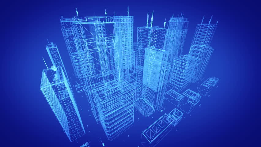 Architectural blueprint of contemporary buildings, blue tint
