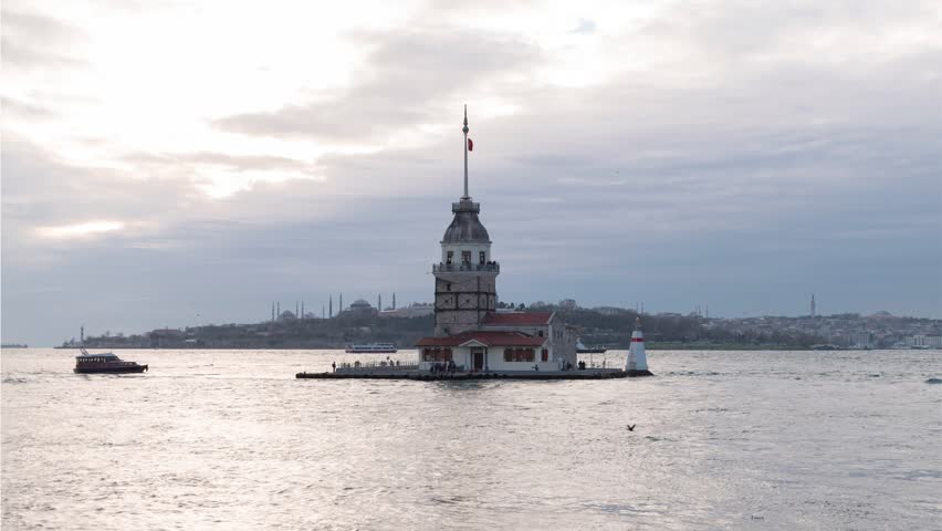 Maiden's Tower (Kiz Kulesi) day to night. Istanbul. One of the symbols of Istanbul