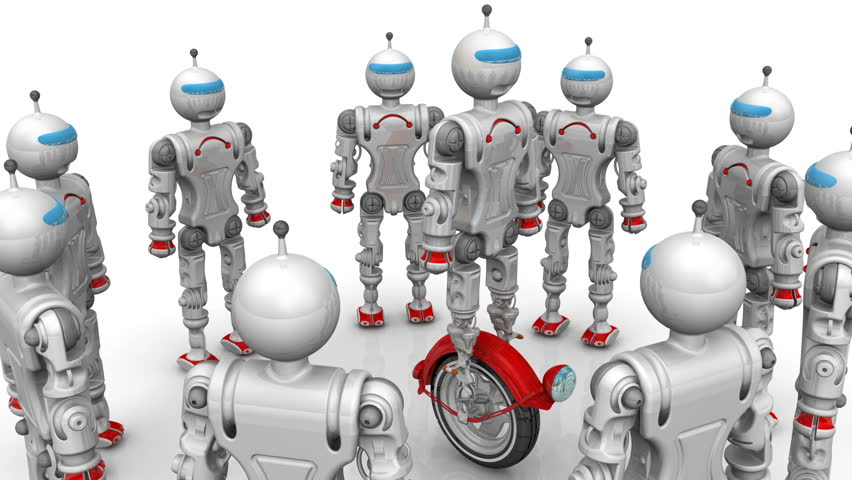 Robots are considering a new modification of the cyborg rotating on unicycle on a white surface. Footage video   Shutterstock HD Video #34249462