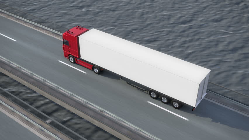 Truck driving along a bridge - view from above - high quality 3d animation