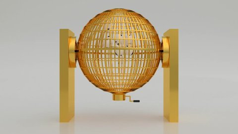 Golden lottery cage. Lotto. Bingo. National lottery with blank balls in white. Loteria nacional. 3d render, 3d illustration