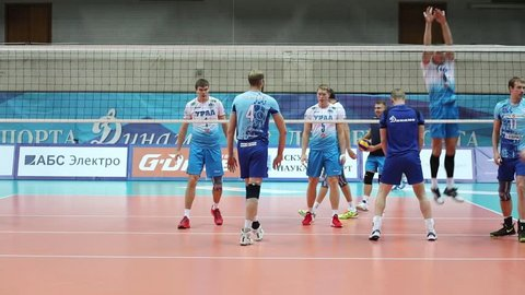 MOSCOW - NOV 5, 2016: Teams train before game of Russian Volleyball Championship Dynamo (Moscow) - Ural (Ufa) in Palace of Sports Dynamo
