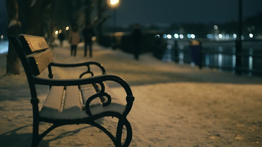 Bench in the waterfront in the winter night with wolking peoples, 4k | Shutterstock HD Video #34324954