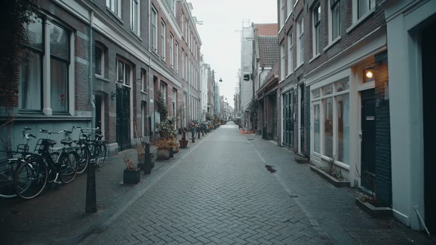 POV moving along typical narrow street in Amsterdam, Netherlands   Shutterstock HD Video #34374244