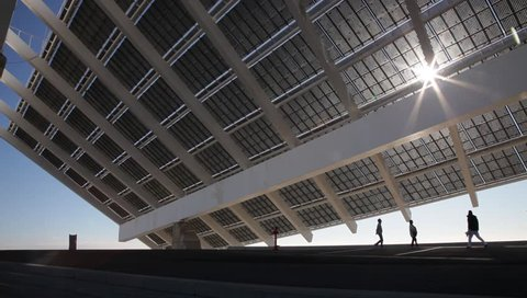 Large solar energy panel in the Forum area in Barcelona. Spain