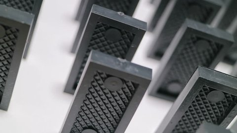 Dominoes stand vertically and rotate. Domino effect, financial risk. Risk management.