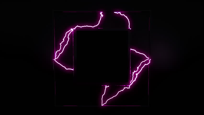 Black placeholder for a square logo that's emanating electricity.  Logo reveal template. 4K.