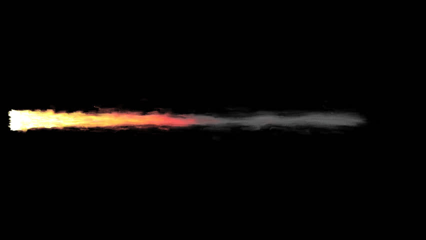 Animated realistic exhaust flame with smoke of rocket, jet engine or other propulsion burning solid fuel. Longer tail and high speed. Isolated on transparent background.   Shutterstock HD Video #34403074