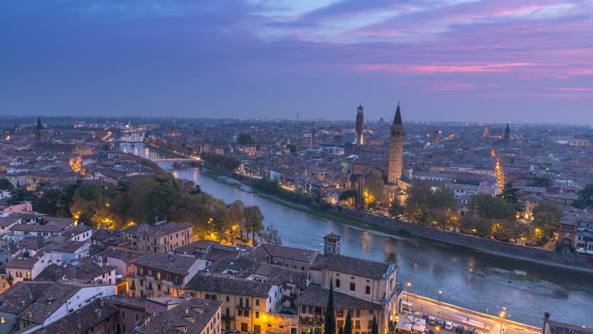 Day to night Timelapse of Verona Skyline Italy, Aerial view from sky, cityscape city footage. | Shutterstock HD Video #34415584
