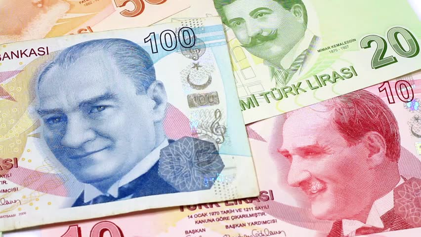 Turkish Banknotes. Slight right to left pan closeup of money.