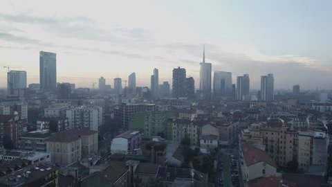 Aerial drone view Milan skyline  and boulevard // no video editing