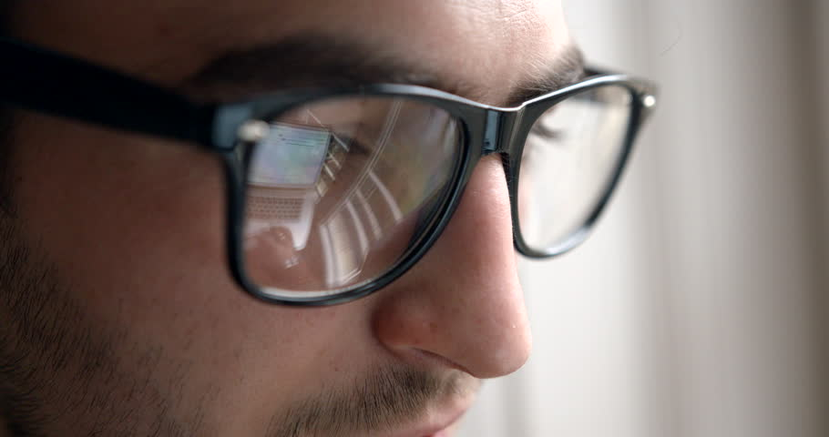 Close Up Reflection Glasses Business Businessman Laptop 4k Slow Motion Routine Office Young Man Eyes.