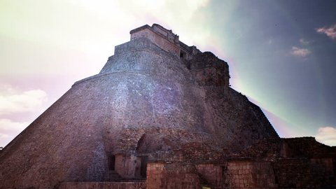 mayan ruins of uxmal in mexico with flare