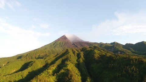Merapi mountain from above taken by drone