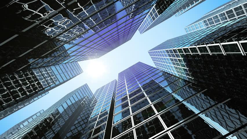 Business Center from morning till evening. Moving sun. HD 1080. | Shutterstock HD Video #3451754
