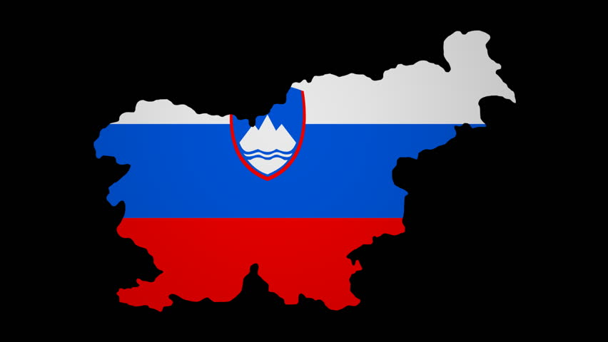 Fluttering Slovenia Map Flag Animation Stock Footage Video - Slovenia map hd