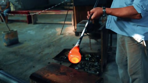 production of vases in Murano glass in Italy