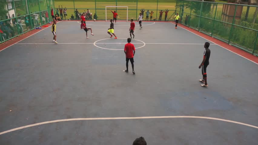KUALA LUMPUR - FEB 24: Youth participating on the neighborhood sports futsal competition in Taman Sri Rampai, Kuala Lumpur, Malaysia on Sunday, February 24, 2013.