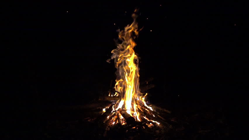 Burning fire at night, campfire bonfire 240 fps (8x) slow motion, hd 1080p video footage   Shutterstock HD Video #34603264