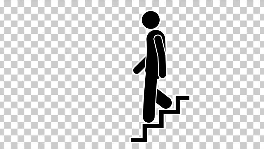 Black  Stick Figure Walking Down. Footage With Alpha Matte