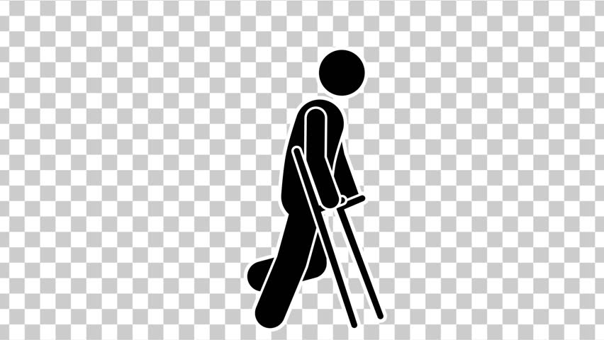 Black Stick Figure  Walk On Crutches. Cartoon Footage With Alpha Matte