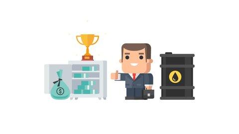 Businessman safe money barrel of oil cup objects set. Motion graphics. Transparent background.