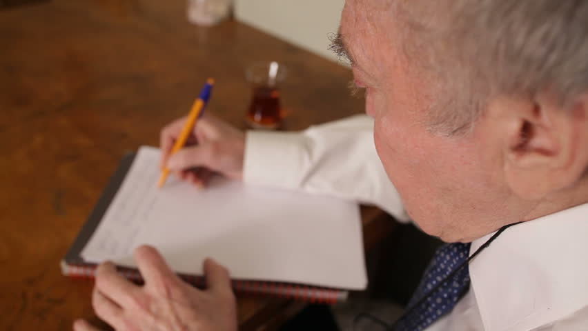 Old Man is Writing Letter Stock Footage Video (100% Royalty free