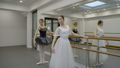 The two prima ballerinas are exercising while standing near the barre in big ballet class with mirror. The dancers are doing inclines and passe par terre