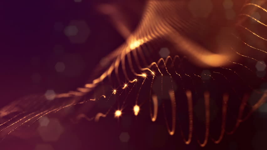 Gold loopable abstract particle background with depth of field, glow sparkles of lights and digital elements. Wave particles form lines and lines form curve surfaces like in the microcosm. V5 | Shutterstock HD Video #34769914