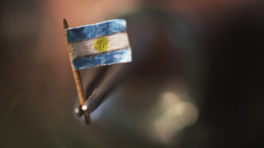Argentina Flag in miniature. Work in toothpick.