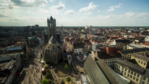Timelapse of the city centre of Ghent, showing people walking around Saint Nicholas' Church, done from the Belfry.