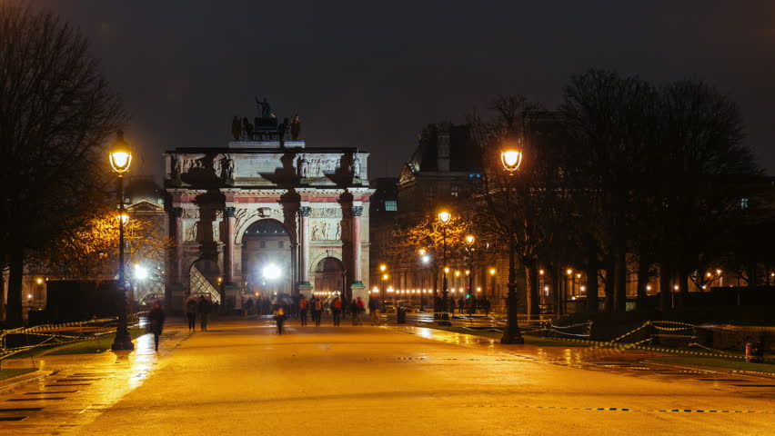 Time lapse of Arc de Triomphe du Carrousel, symbol of Napoleon military victories, and Tuileries garden by night. Famous Paris landmarks and popular travel destinations. Tourism and vacations concept | Shutterstock HD Video #34796272