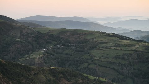 Landscape in the sunrise near of the O Cebreiro, Galicia, SPain, Europe. Camino de Santiago.