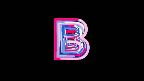 Letters are collected in latin letter B, then scattered into strips. Bright colors. Alpha channel Premultiplied - Matted with color black