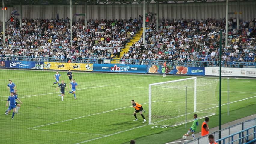 SEVASTOPOL, UKRAINE - MAY 15: Goal is scored at soccer match between Sevastopol and Lviv on May 15, 2012 in Sevastopol, Crimea, Ukraine.