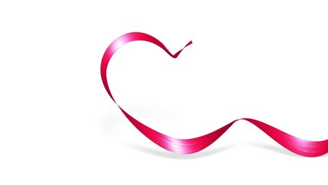 Red heart love symbol Valentines Day, Wedding invation, Silk Ribbon bows 3d animation