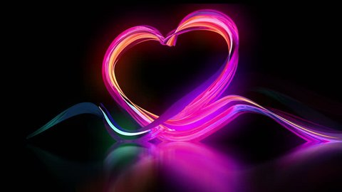 Beam Light Love Heart shape Valentines Day and Wedding, Time lapse stop motion Light Trail, Creative 3d animation abstract energy flowing opening on black background. Isolated matte mask.