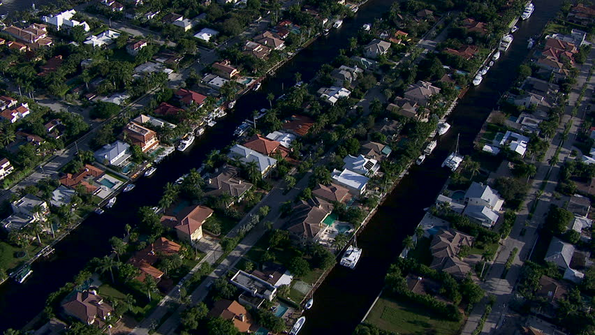 Aerial view of luxury Waterfront residential homes and moorings Harbor Beach Lake Sylvia Fort Lauderdale Florida USA