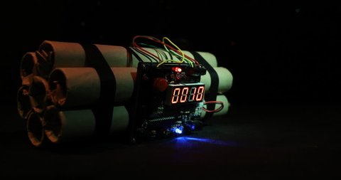 Countdown Explosive tnt Bomb With Digital Timer. Dynamite bomb disposal with a clockwork mechanism