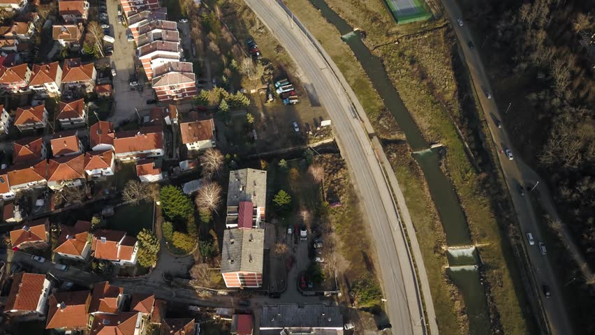 Aerial timelapse of a main road by a river on a sunny day   Shutterstock HD Video #34932331