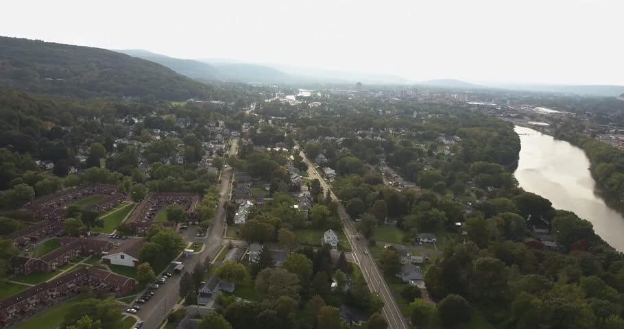 Aerial of Binghamton New York State hills   Shutterstock HD Video #34933057