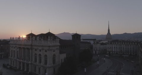 Aerial footage drone sunset view of Mole in Turin italy Torino // no video editing