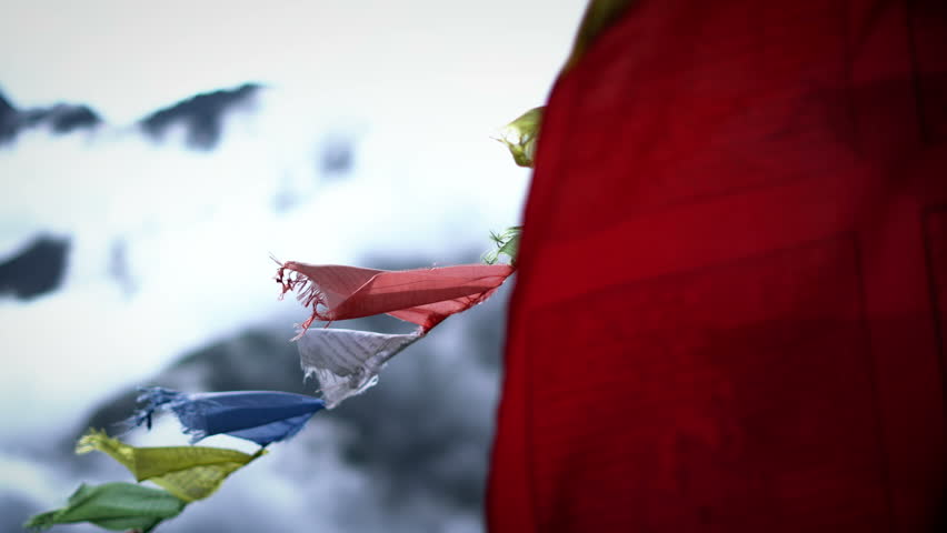 Close up of Prayer Flags on Himalayan Mountain Sky, Everest Base Camp Trek From Namche Bazaar to Tengboche , Nepal