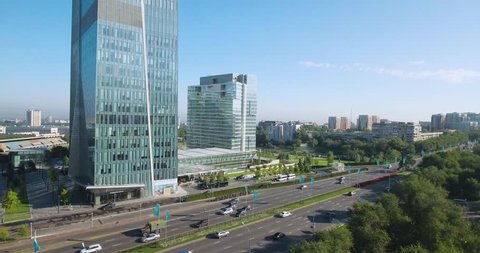 Almaty - MAY 2017: From bottom to top aerial summer shot of the Ritz-Carlton building