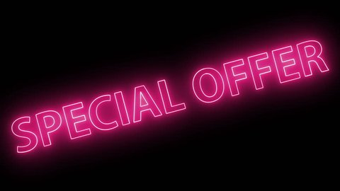 Pink Neon Light SPECIAL OFFER banner. Animated Special Offers neon banner background. Red Moving Special Offer Sales promotion animation video in 4k.