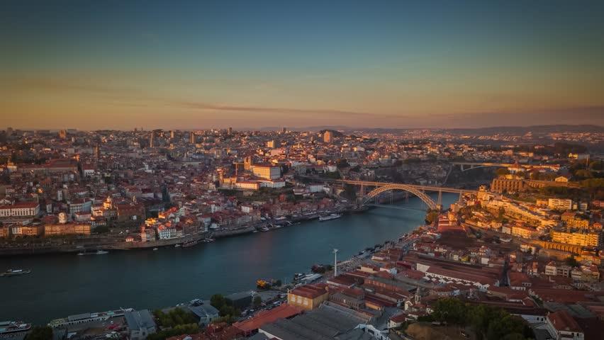 Portugal Porto aerial panorama view  Beautiful sunser Dom Luis I bridge Vila Nova de Gaia  #35010184