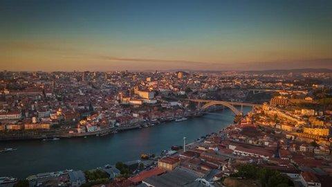 Portugal Porto aerial panorama view  Beautiful sunser Dom Luis I bridge Vila Nova de Gaia