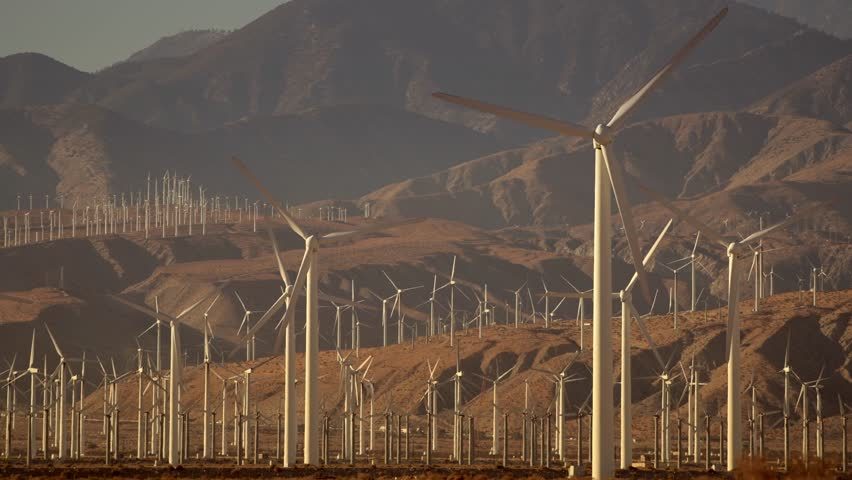 Modern Power Plant with Wind Turbines in Coachella Valley Region, Southern California, United States of America